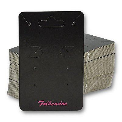Cartela para 3 pares de Brincos e Corrente Conjunto 5 x 8 cm Escrita Folheados