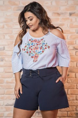 SHORTS PLUS SIZE BRUNA AZUL