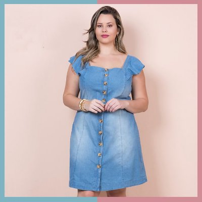 VESTIDO JEANS PLUS SIZE ROMANTIC