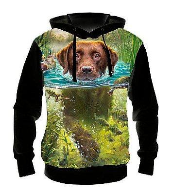 ANIMAIS - Cachorro Nadando - Casaco de Moletom Variado