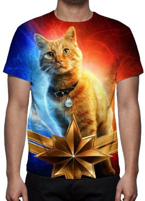 MARVEL - Capitã Marvel Gato Goose - Camiseta de Cinema