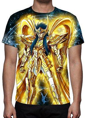 CAVALEIROS DO ZODÍACO - Armadura Divina Camus de Aquário - Camiseta de Animes