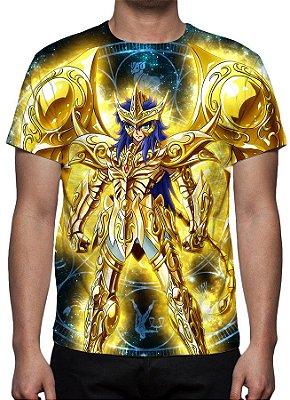 CAVALEIROS DO ZODÍACO - Armadura Divina Milo de Escorpião - Camiseta de Animes