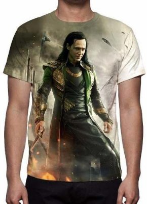 MARVEL - Thor Mundo Sombrio Loki - Camiseta de Cinema