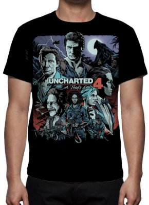 UNCHARTED 4 - A Thief´s End Preta - Camiseta de Games