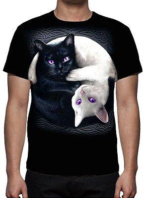 ANIMAIS - Gatos Preto e Branco - Camisetas Variadas