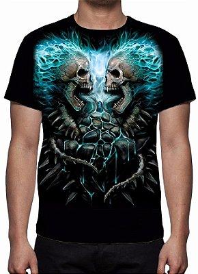 REAPER MORTE - Em Chamas Azul - Camiseta Variada
