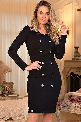 Vestido Tubinho Moda Evangelica Preto com botões Maria Amore 3472