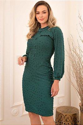 Vestido Tubinho Moda Evangelica em Póa com detalhes em botões Maria Amore 3480
