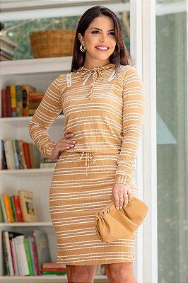 Vestido Tubinho Moda Evangelica Listrado com Capuz Boutique K 0263