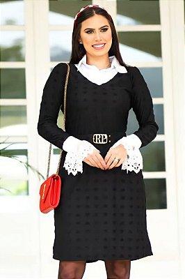 Vestido em Malha poá de Coração Moda Evangelica Preto Gola Tricoline e punho em Renda RP