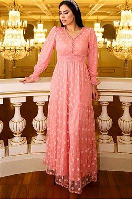 Vestido Longo Moda Evangelica em Tule Póa com detalhe em Lastex RP