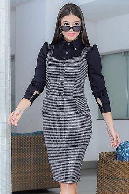 Vestido Xadrez + Camisa Moda Evangelica com detalhe em Bolso RP