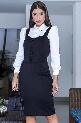 Camisa Social + Vestido Preto Moda Evangelica com detalhe em Bolso RP