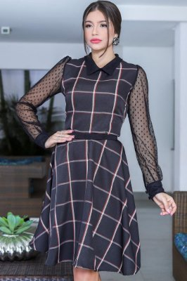 Vestido Lady Like Moda Evangelica Xadrez com manga em Tule Póa RP