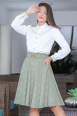 Conjunto Moda Evangelica Camisa Social  com Saia em Jacquard RP