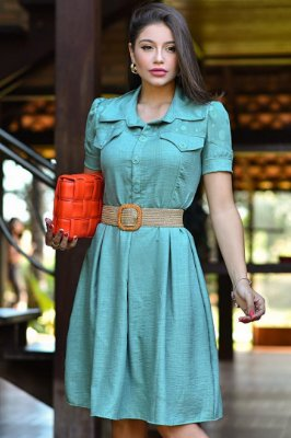 Vestido Lady Like Moda Evangelica com cinto e detalhe em botões RP