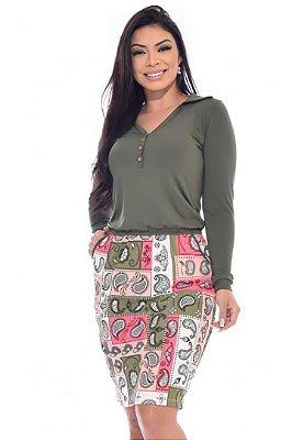 Vestido Moda Evangelica Verde com elastico ne cintura e botões DM LF