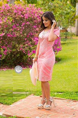 Vestido Rosa Monia Estampando c/ Ilhós 64320