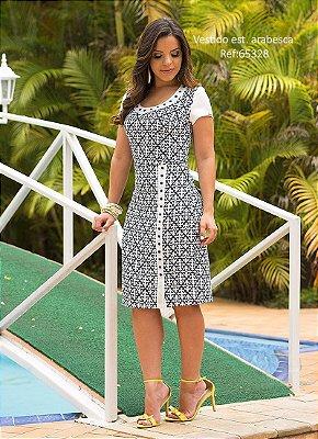 Vestido Monia 65328 Branco com Preto Detalhe em Pedrarias