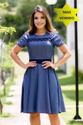 Vestido Azul Jeans com Renda 1368