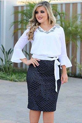Vestido Preto e Branco (Falso Conjunto) Monia 74113