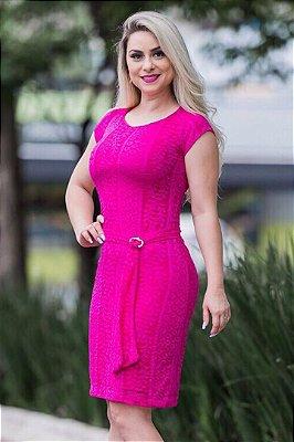 Vestido Moda Evangelica em Renda com Cinto AD6630