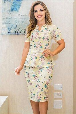 Vestido Moda Evangelica Peplum Bk849