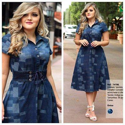 Vestido Moda Evangelica Jeans Acinturado com Ilhos Monia 74106