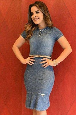 Vestido Jeans Moda Evangelica com Cinto MN4110