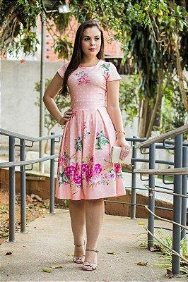 Vestido Midi Moda Evangelica Estampado com Poa
