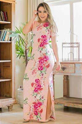 Vestido Longo Estampado Moda Evangelica Bk4679