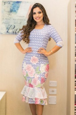 Vestido Midi Moda Evangelica Estampa Floral Bk670
