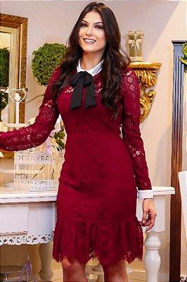 Vestido Moda Evangelica em Renda Manga Longa AZ30108