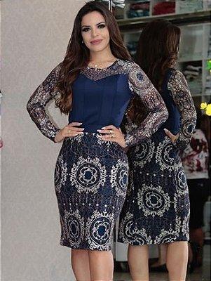 Vestido Moda Evangelica Tubinho em Renda Azul Kauly 2189