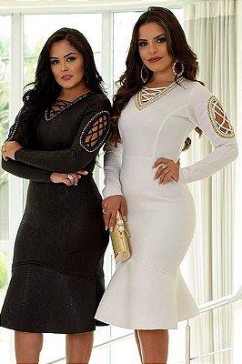 Vestido Moda Evangelica Bordado Monia 81103