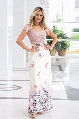 Vestido Longo Moda Evangelica com Cinto e Renda MA1787