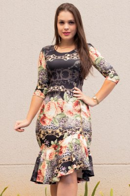 Vestido Moda Evangelica Sino Estampado KB