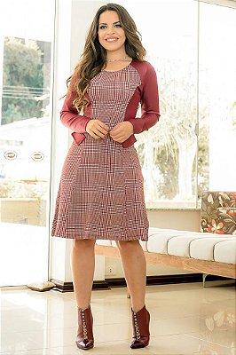 Vestido Xadres Moda Evangelica com Detalhes Couro Fake BK 2007
