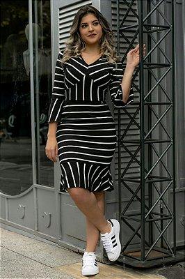 Vestido Sino Listrado Moda Evangelica FN 3570
