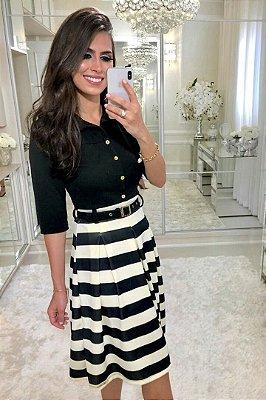 Vestido Listrado Moda Evangelica com Cinto Preto RP