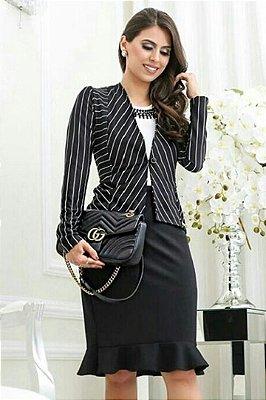 Vestido Moda Evangelica com Blazer Listrado RP