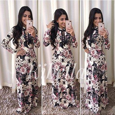 Vestido Longo Moda Evangelica Estampado Com Gravatinha KB