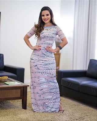 Vestido Longo Moda Evangelica Malha Fria com Recortes na Gola BK 4725