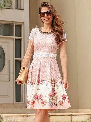 Vestido Lady Like Moda Evangelica Aplicação de Pedrarias na Gola RP