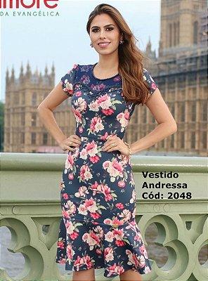 Vestido Sino Moda Evangelica  Estampado Maria Amore 2048