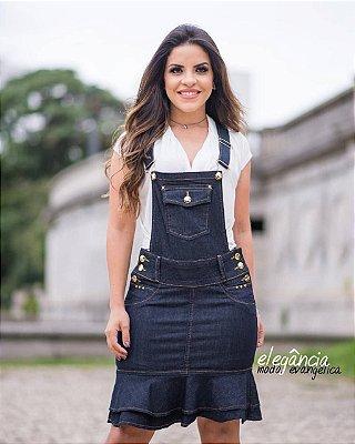 Jardineira jeans Barra Sino Detalhes em Botoes EJ