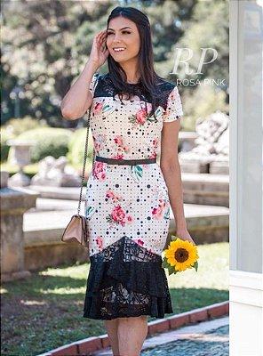 Vestido Sino Moda Evangélica Detalhe em Renda e Cinto RP