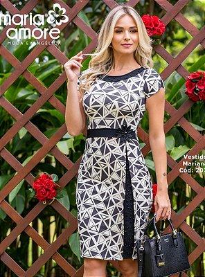 Vestido Moda Evangelica Tubinho Com Aplicação de Pedraria Mariana Maria Amore 2075