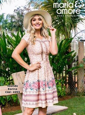 Vestido Moda Evangelica Com Pregas e Bordado Karina Maria Amore 2093